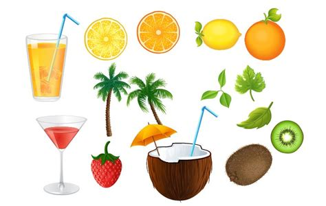 summer cocktails summer cocktails vector graphics pack