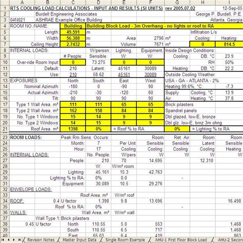 Heat Load Calculation Spreadsheet by Sbs5225 Hvacr I
