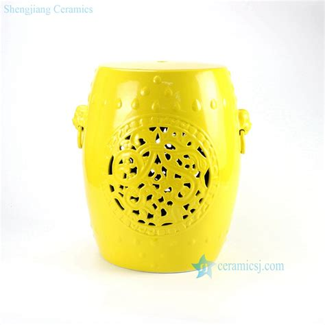 Yellow Solid Stool by Rynq177 B Lemon Yellow Glazed Solid Color Hollow Out Ceramic Stool Living Room Furniture Sale