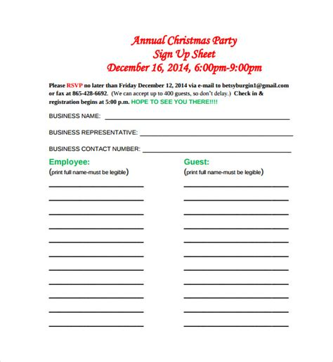printable christmas sign up sheet 23 sle sign up sheet templates pdf word pages excel sle templates
