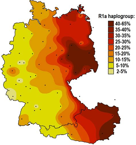 map germany austria map of haplogroup r1a in germany and austria