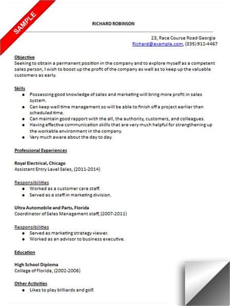 Resume Exles For Entry Level Sales Entry Level Sales Resume Sle Resume Exles