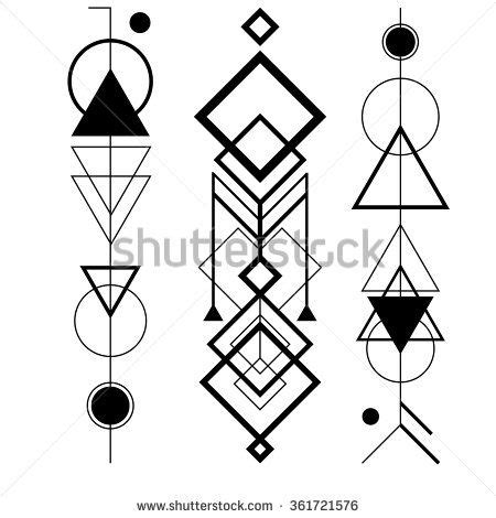geometric tattoo vector abstract mystic sign with geometric shapes triangles