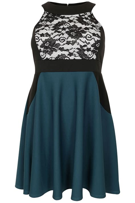 Lace Panel Dress teal black lace panel skater dress plus size 16 to 32