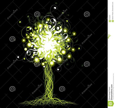 glowing green lights in trees glowing tree stock vector illustration of wisps