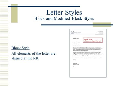 block and modified block styles with open and mixed