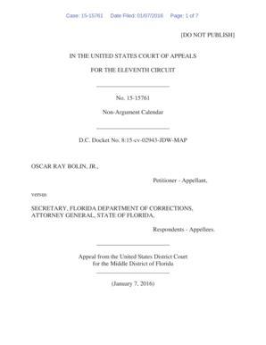 fillable online oscar bolin jr v secretary fl doc et al
