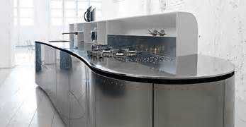 Kitchen with compact and modern stainless steel kitchen island photo