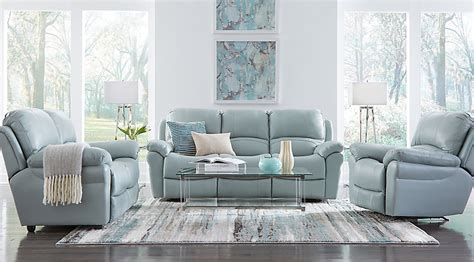 sofa for living room pictures vercelli aqua leather 3 pc living room with reclining sofa