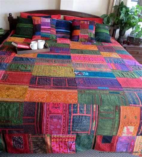 Patchwork Quilt Duvet Cover - vintage hmong batik embroidery patchwork cotton king