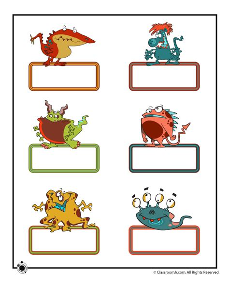 printable children s name cards printable bulletin board name cards small cute monsters