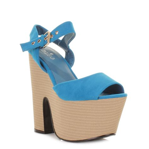 womens blue demi wedge high heel platform wedge sandals