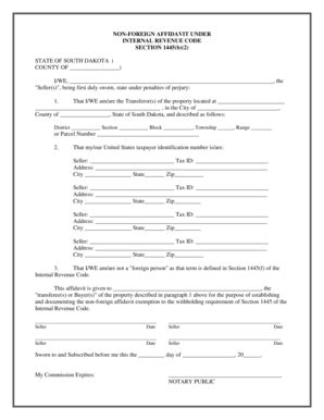 irs section 1445 fillable online non foreign affidavit under internal
