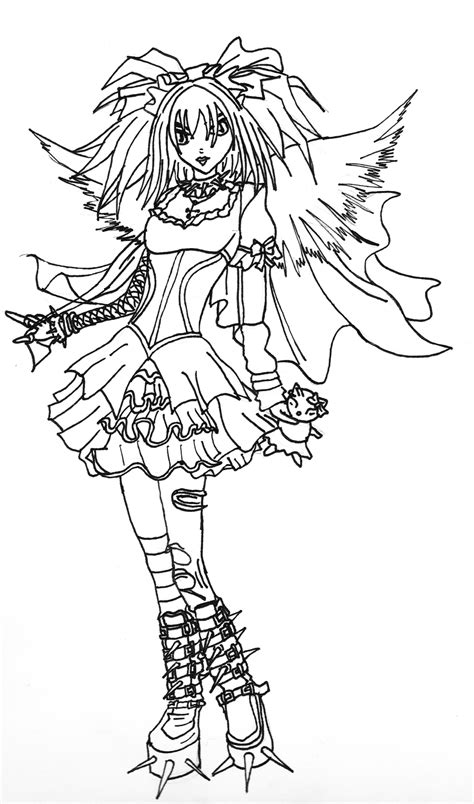 gothic angel line art by kestrel36 on deviantart