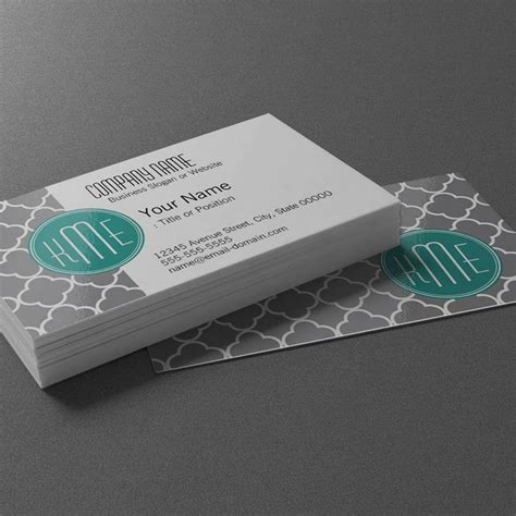Free Monogram Business Card Templates by Gray Quatrefoil With Custom Mint Monogram Business Card