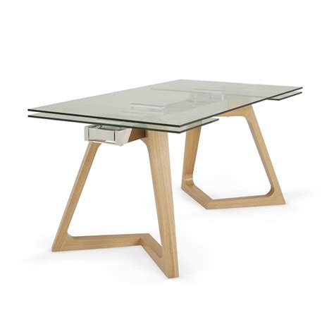 abena extendable glass dining table in clear with oak legs