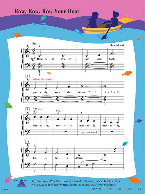 row your boat piano notes letters level 1 lesson book 2nd edition piano adventuresr