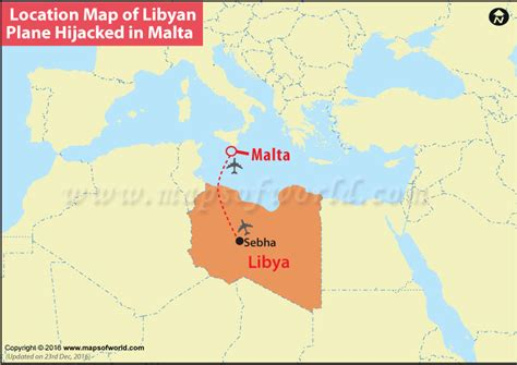 libya map in world location map of libyan plane hijacked in malta