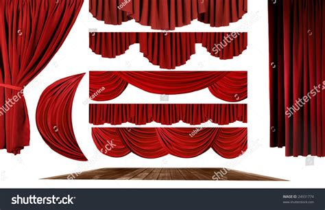 red swag curtains dramatic red old fashioned elegant theater stage elements