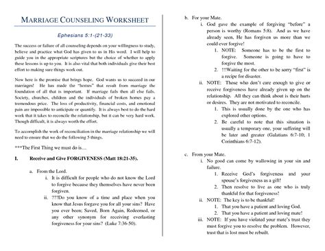 Premarital Counseling Worksheets by Marriage Counseling Worksheets Related Keywords