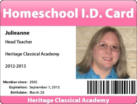 homeschool id card template free customized homeschool i d cards in our journey