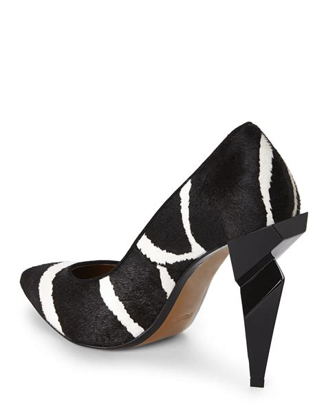 black and white patterned heels lyst fendi zebra print diamond heel pumps in black