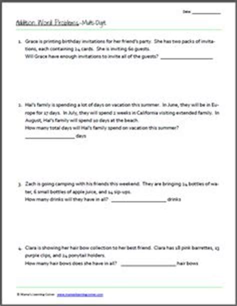 3rd Grade Math Worksheets Math Worksheets For 2nd And