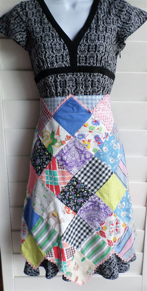 Patchwork Apron - vintage handmade patchwork half apron kitchen fashion