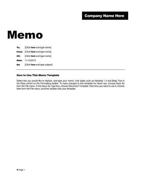 brilliant business memo format and template exle vlashed