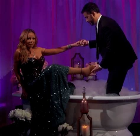 mariah carey bathtub mariah carey gets shoes wet during bubble bath interview