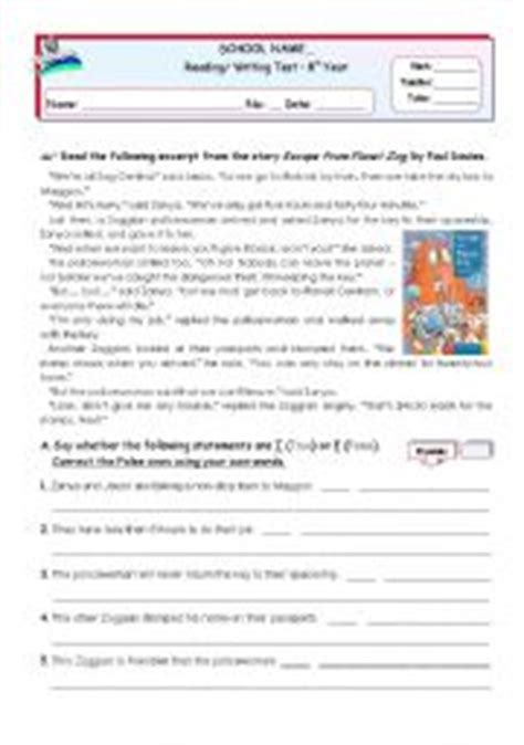 reading comprehension tests year 7 online english teaching worksheets reading comprehension test