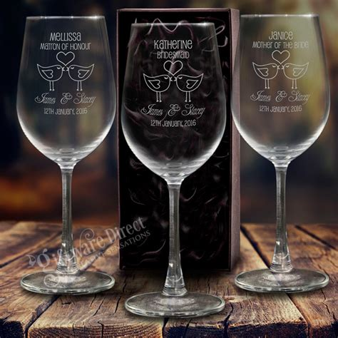 Wedding Gift Wine Glasses by Engraved 350ml Wine Glass Gift Boxed Box Wedding