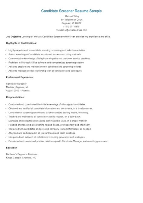 resume sles candidate screener resume sle