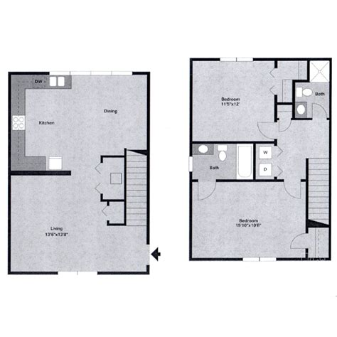 2 bedroom townhouse floor plans watergate at milford apartments milford de floor plans