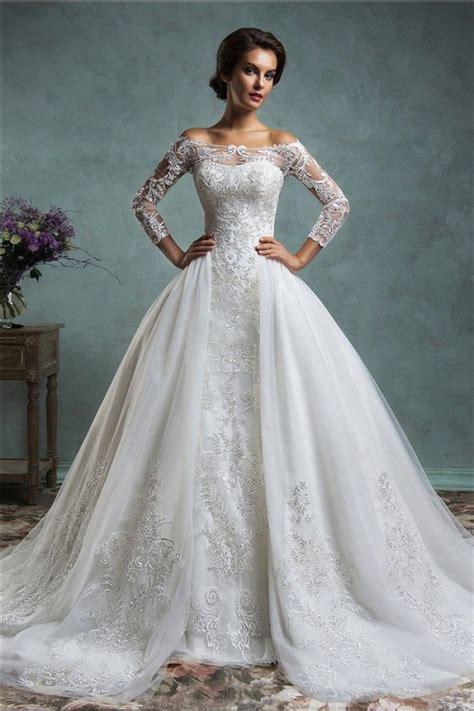 Vintage Unique Wedding Dresses by Unique Mermaid Vintage Lace Sleeve Wedding Dress With