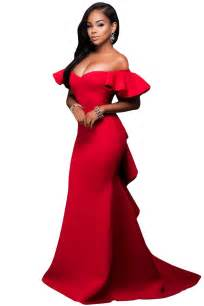 gorgeous ruffle accent red party gown charming wear