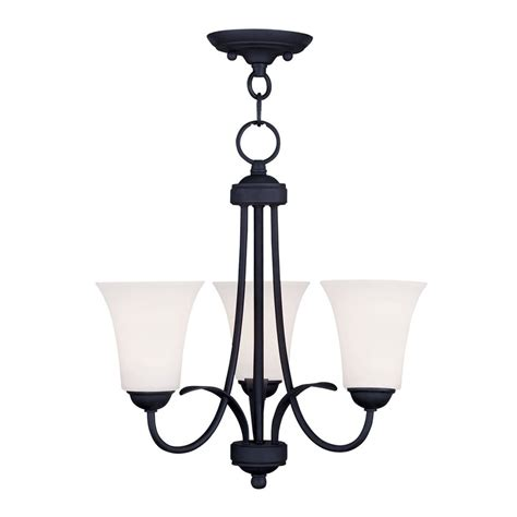 Black 3 Light Chandelier Shop Livex Lighting Ridgedale 18 In 3 Light Black Shaded Chandelier At Lowes