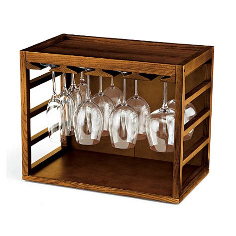 Free Standing Wine Glass Rack by Cube Stack Wine Glass Rack Walnut Stain Wine Enthusiast
