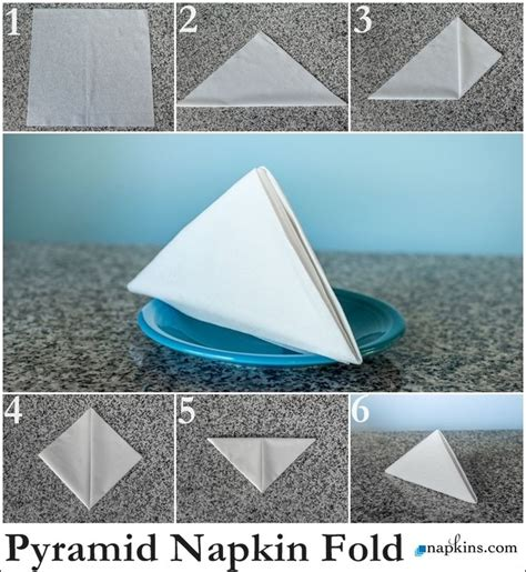 Simple Paper Napkin Folding - pyramid napkin fold how to fold a napkin