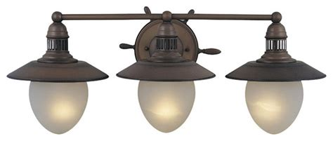 Coastal Bathroom Lighting Orleans Antique Copper 3 Light Vanity Coastal Bathroom Vanity Lighting