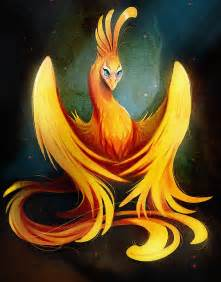 cute cartoon orange phoenix by vixie arts