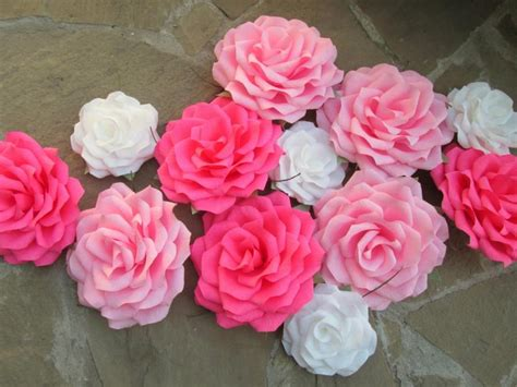 How To Make Paper Flowers For Wedding Decorations - 12 paper flowers paper roses wedding