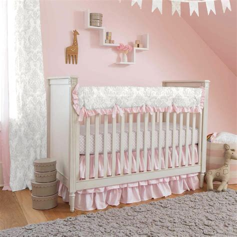 French Gray And Pink Damask Crib Bedding Carousel Designs Crib Bedding Pink And Grey