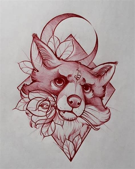 tattoo old school fox charming new school fox portrait with moon and flowers