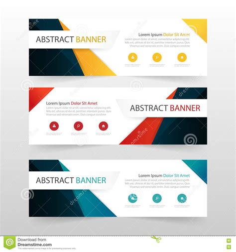 layout design for banner yellow red blue abstract triangle corporate business