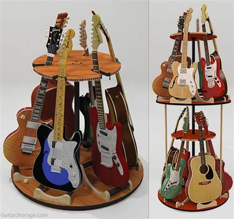 Multi Guitar Wall Rack by The Carousel Deluxe Rotating Multi Guitar Stand