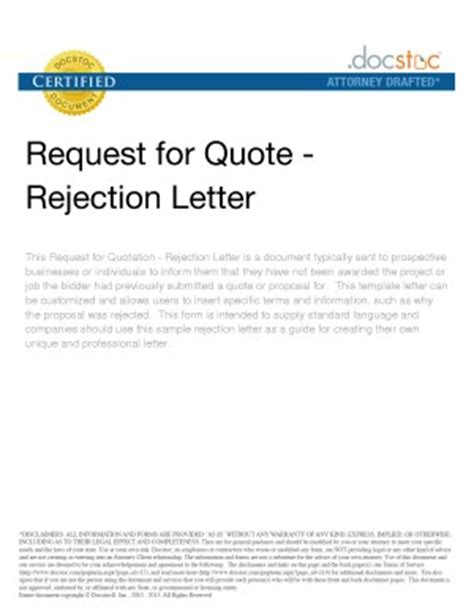 Rejection Letter Price Quote Request Quotes Quotesgram