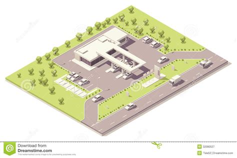 Auto Use Floor Plan by Isometric Filling Station Building Royalty Free Stock
