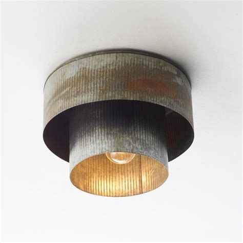 Metal Ceiling Light Corrugated Tin Drum Ceiling Light