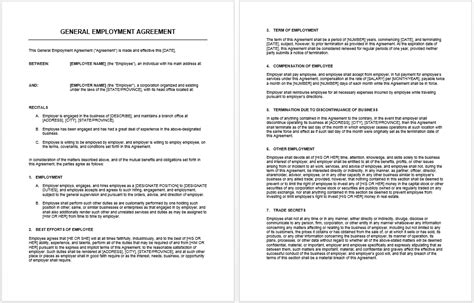 General Agreement Template Microsoft Word Templates Generic Employment Contract Template